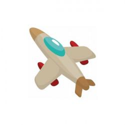 Sticker Avion montgolfière vert et jaune