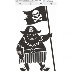 Sticker Pirate muscle noir