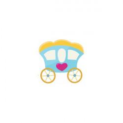 Sticker Princesse carosse bleu coeur