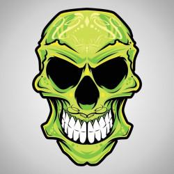 Sticker Tête de mort vert
