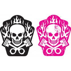 Sticker Tête de mort Fleurs colorés