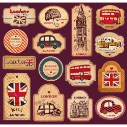 Sticker Londres Drapeau vintage