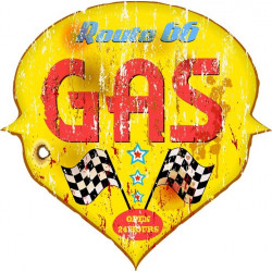 Sticker plaque rétro gas last chance