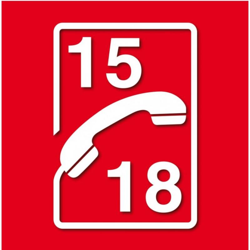 Sticker Incendie T 233 L 233 Phone Pompier 15 18 Etiquette