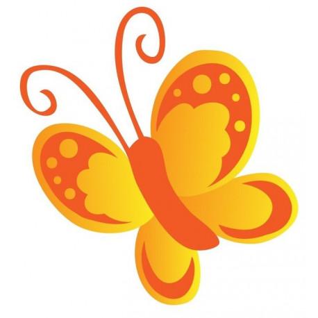 Sticker Papillon orange en vol