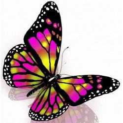 Sticker Papillon violet et blanc
