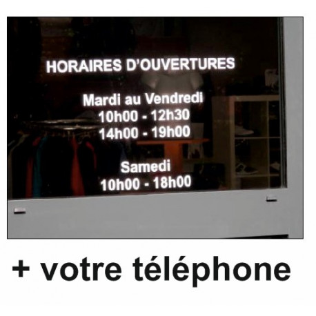 Sticker N°2 : Horaires + TEL ou email ou wite web
