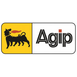 Sticker AGIP RECTANGLE JAUNE BLANC