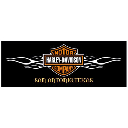 Sticker HARLEY DAVIDSON RECTANGLE NOIR FLAMME