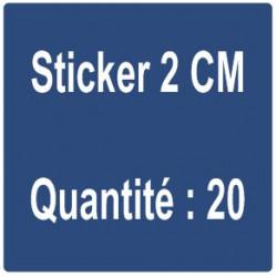 B) Sticker 2 cm - Quantité : 20