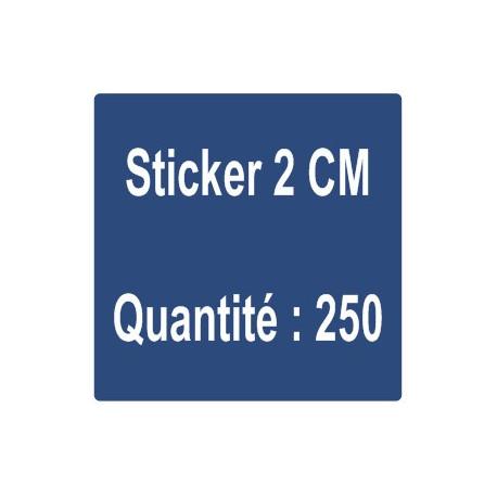 F) Sticker 2 cm - Quantité : 500