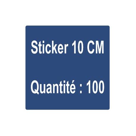 D) Sticker 10 cm - Quantité : 100