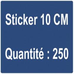 E) Sticker 10 cm - Quantité : 250