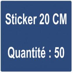 C) Sticker 20 cm - Quantité : 50