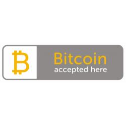 Sticker bitcoin accepté ici gris