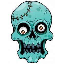 Sticker Tete de mort zombie bleu