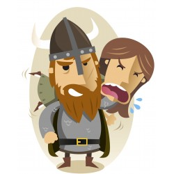 Sticker personnage viking attrape villageoise