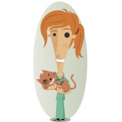 Sticker Vétérinaire femme chat