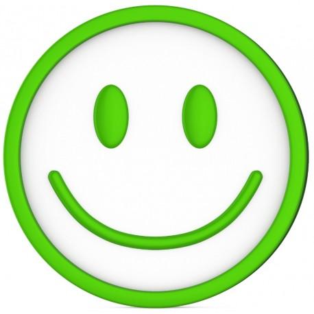 Sticker Emoji Smiley Vert Sourir Heureux Etiquette Autocollant