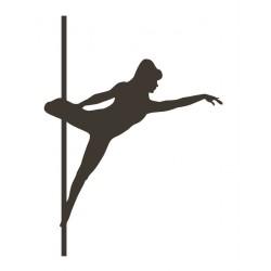 Sticker pole dance silhouette noir