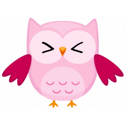 Sticker chouette hibou rose