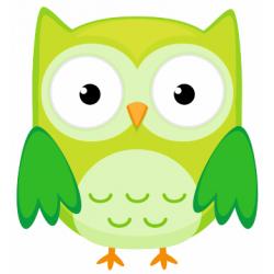 Sticker chouette hibou vert