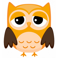 Sticker chouette hibou orange