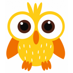 Sticker chouette hibou jaune