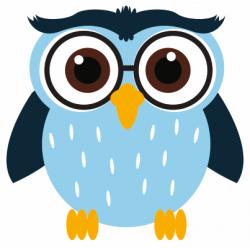Sticker chouette hibou bleu