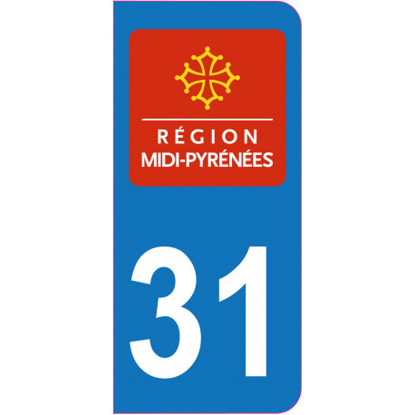 Sticker - Immatriculation -Haute Garonne-31 - (REFG540)