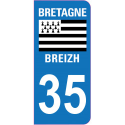 Sticker Plaque immatriculation 35 - Ile et Vilaine