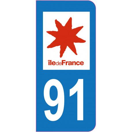 Sticker - Immatriculation -Essonne-91 - (REFG600)