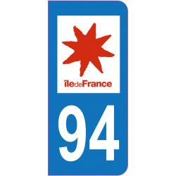 Sticker - Immatriculation -Val de Marne -94- (REFG603)