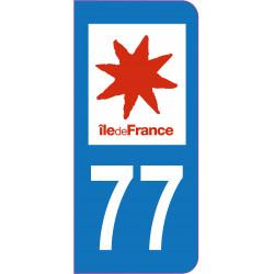 Sticker - Immatriculation -Seine et Marne-77 - (REFG586)