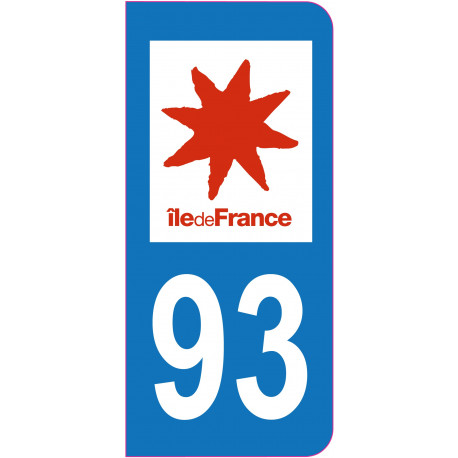 Sticker - Immatriculation -Seine Saint Denis-93 - (REFG602)