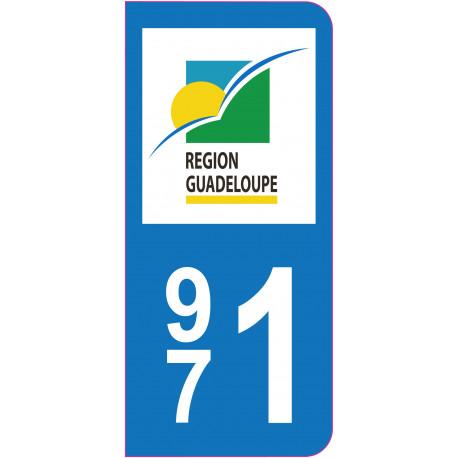 Sticker - Immatriculation -Guadeloupe-971 - (REFG605)