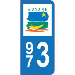 Sticker - Immatriculation -Guyane-973 - (REFG607)