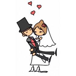 Sticker la mariée tient le marié