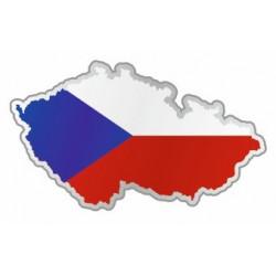 Sticker République Tchéque carte et drapeau