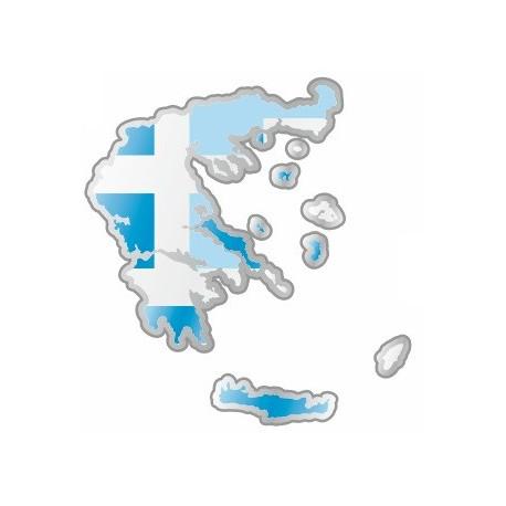Sticker - Carte et drapeau Grèce (REFH784
