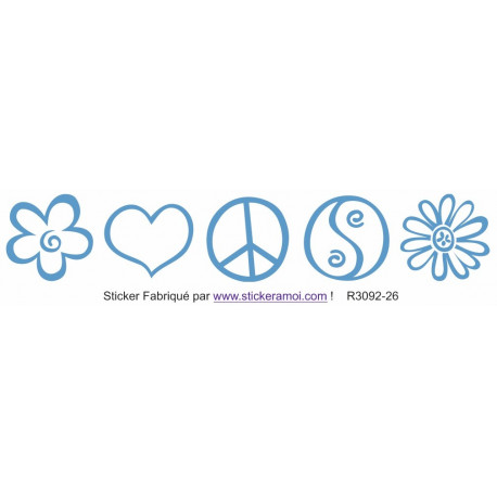 Sticker - Frise verticale Peace and Love (R3092-26)