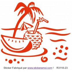 Sticker - Plage palmier cocotier déco (R3118-23)