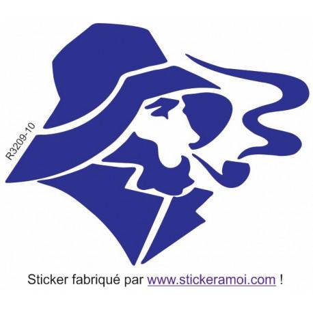 Sticker Marin ombre fume sa pipe Univers Marin Mural