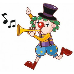 Sticker mural Clown musicien